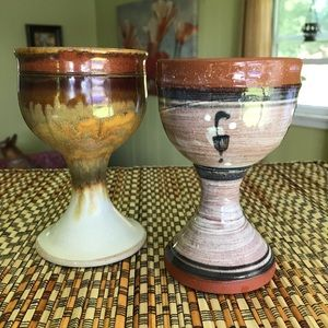 Other - Handmade stoneware wine goblets. Set of 2.